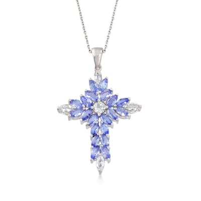 2.20 ct. t.w. Tanzanite and .70 ct. t.w. White Topaz Cross Pendant Necklace in Sterling Silver