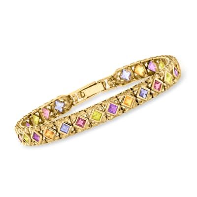 C. 1980 Vintage 7.95 ct. t.w. Multi-Gemstone Bracelet in 14kt Yellow Gold