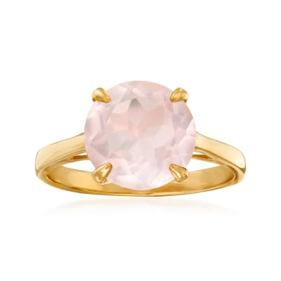 3.20 Carat Rose Quartz Ring in 14kt Yellow Gold