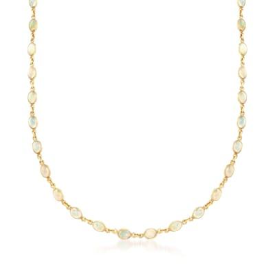 Ethiopian Opal Station Necklace in 14kt Gold Over Sterling