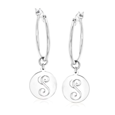 Sterling Silver Single-Initial Circle Charm Hoop Earrings