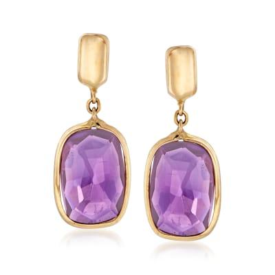 Italian 2.30 ct. t.w. Amethyst Drop Earrings in 14kt Yellow Gold