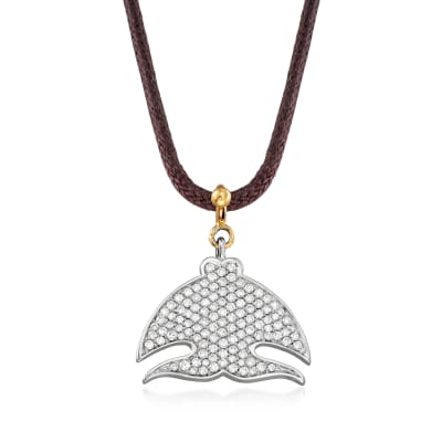 """C. 2000 Vintage Pasquale Bruni """"Le Monde"""" .70 ct. t.w. Diamond Necklace in 18kt Two-Tone Gold with Leather Cord"""
