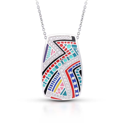 "Belle Etoile ""Carnival"" Multicolored Enamel and 1.30 ct. t.w. CZ Pendant in Sterling Silver"