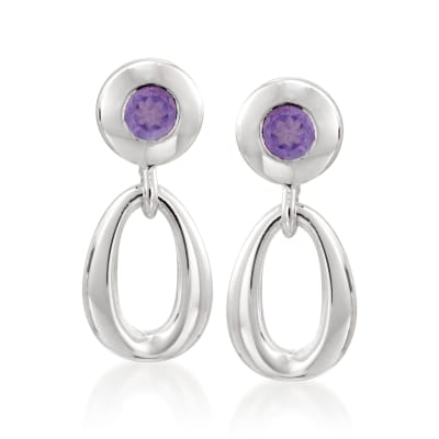 Zina Sterling Silver .40 ct. t.w. Amethyst Oval Link Drop Earrings