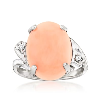 C. 1950 Vintage Pink Coral Ring with Diamond Accents in 14kt White Gold
