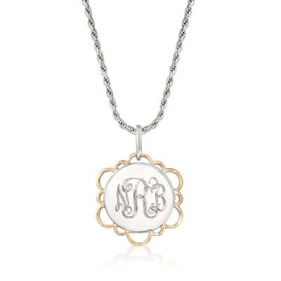 Sterling Silver and 14kt Yellow Gold Personalized Disc Pendant Necklace