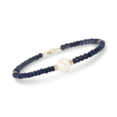 Cultured Pearl and 28.00 ct. t.w. Beaded Sapphire Bracelet in 14kt Yellow Gold