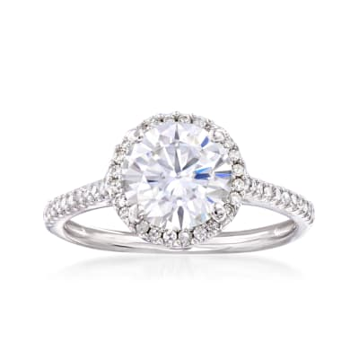 1.90 Carat Moissanite Solitaire and .23 ct. t.w. Diamond Engagement Ring in 14kt White Gold