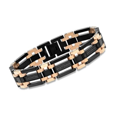 Men's Black and Rose Stainless Steel Link Bracelet with 1.10 ct. t.w. Black CZs