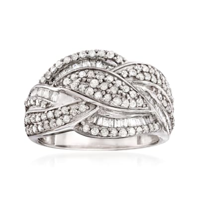 1.00 ct. t.w. Diamond Braided Ring in Sterling Silver