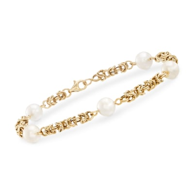 7mm Cultured Pearl Byzantine Bracelet in 14kt Yellow Gold