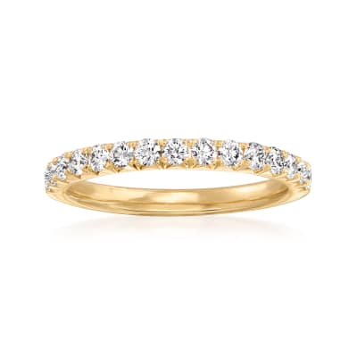 Henri Daussi .45 ct. t.w. Pave Diamond Wedding Ring in 14kt Yellow Gold