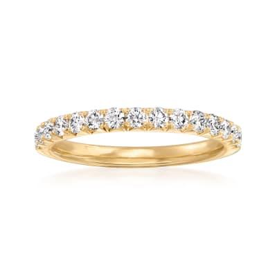 Henri Daussi .45 ct. t.w. Pave Diamond Wedding Ring in 14kt Yellow Gold