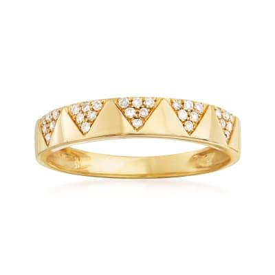 .15 ct. t.w. Pave Diamond Chevron Band 14kt Yellow Gold