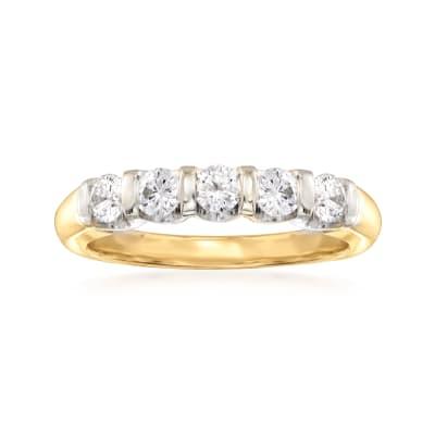 C. 2000 Vintage .75 ct. t.w. Diamond Five-Stone Ring in 14kt Two-Tone Gold
