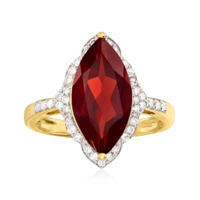 4.50 Carat Garnet and .26 ct. t.w. Diamond Ring in 14kt Yellow Gold