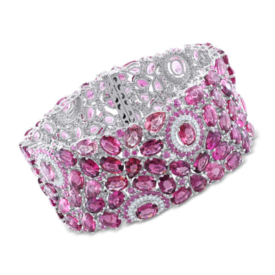 82.10 ct. t.w. Multi-Gemstone Bracelet with 1.00 ct. t.w. Diamonds in 14kt White Gold