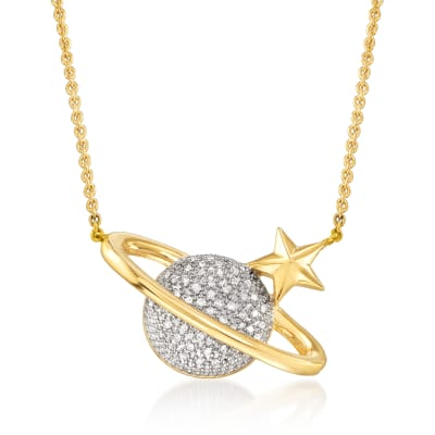 .15 ct. t.w. Pave Diamond Planet and Star Necklace in 18kt Gold Over Sterling