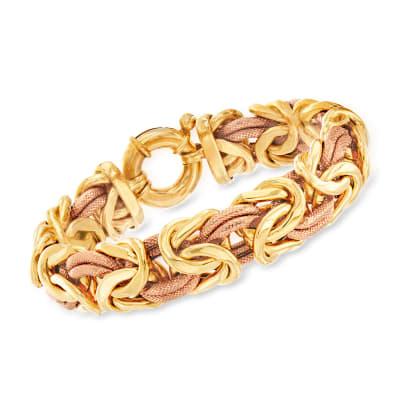C. 1990 Vintage 18kt Two-Tone Gold Byzantine Bracelet
