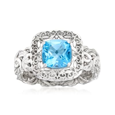 1.40 Carat Swiss Blue Topaz Ring in Sterling Silver