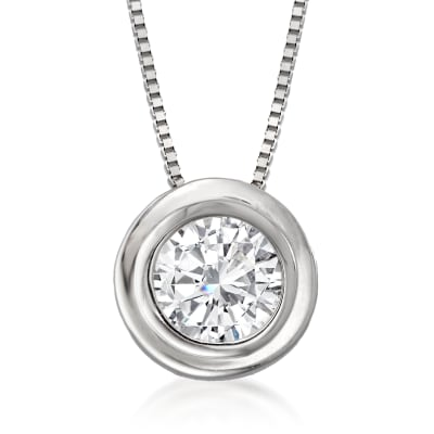 .50 Carat Bezel-Set Diamond Solitaire Necklace in 14kt White Gold