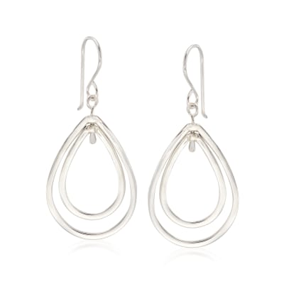 "Zina Sterling Silver ""Wired"" Double Pear-Shaped Drop Earrings"