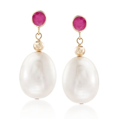 9.5-10.5mm Cultured Pearl and .60 ct. t.w. Ruby Drop Earrings in 14kt Yellow Gold