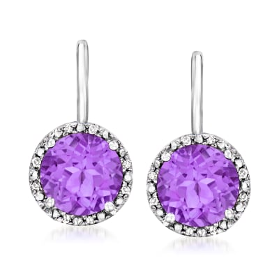 3.40 ct. t.w. Amethyst Drop Earrings with Diamond Accents in Sterling Silver