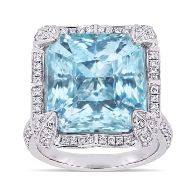 20.00 Carat Sky Blue Topaz Ring with 1.09 ct. t.w. Diamonds in 14kt White Gold