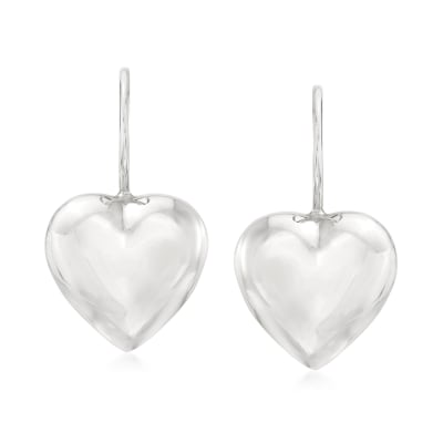 Italian Sterling Silver Heart Drop Earrings