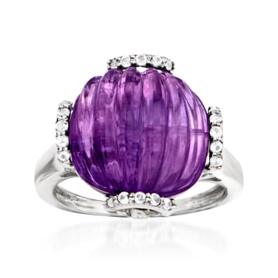 10.00 Carat Amethyst and .20 ct. t.w. White Topaz Ring in Sterling Silver