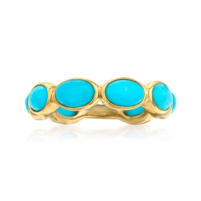 Turquoise Ring in 18kt Gold Over Sterling