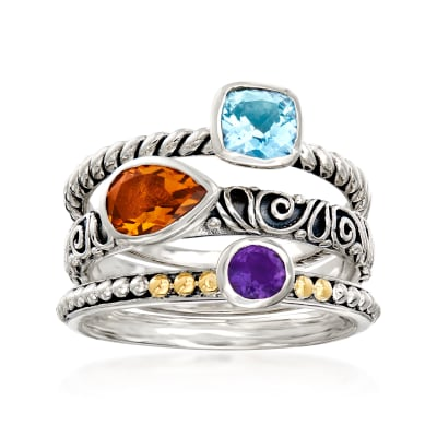 1.34 ct. t.w. Multi-Gemstone Ring in Sterling Silver and 18kt Yellow Gold