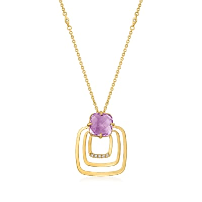 C. 1980 Vintage 3.40 Carat Amethyst and .15 ct. t.w. Diamond Open-Space Square Pendant Necklace in 14kt Yellow Gold