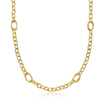 Italian 18kt Yellow Gold Textured Link Necklace
