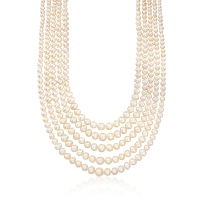 4-8.5mm Cultured Pearl Five-Strand Layered Necklace with Sterling Silver