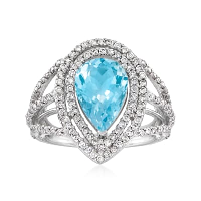 3.00 Carat Aquamarine and .95 ct. t.w. Diamond Ring in 14kt White Gold