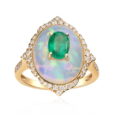 Opal, .70 Carat Emerald and .34 ct. t.w. Diamond Ring in 14kt Yellow Gold