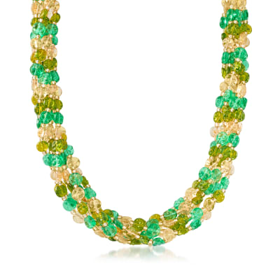 Italian Murano Glass Bead Torsade Necklace in 18kt Gold Over Sterling