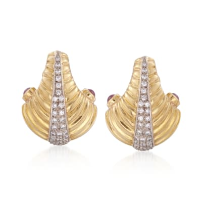 C. 1980 Vintage .75 ct. t.w. Ruby and 1.00 ct. t.w. Diamond Earrings in 18kt Two-Tone Gold