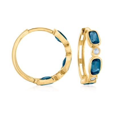 2.10 ct. t.w. London and Sky Blue Topaz Hoop Earrings in 14kt Yellow Gold