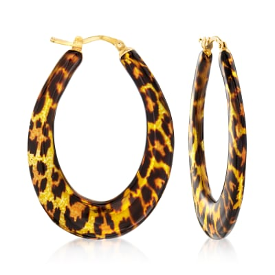 Italian Leopard-Print Enamel Hoop Earrings in 18kt Gold Over Sterling