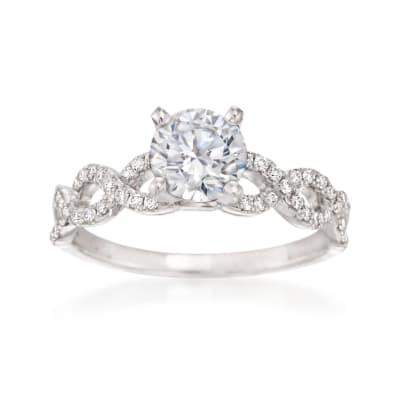 .21 ct. t.w. Diamond Crisscross Engagement Ring Setting in 14kt White Gold