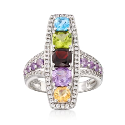 2.10 ct. t.w. Multi-Gemstone and .50 ct. t.w. CZ Ring in Sterling Silver