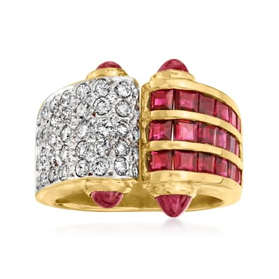 C. 1980 Vintage 2.00 ct. t.w. Ruby and .60 ct. t.w. Diamond Fashion Ring with Ruby Cabochons in 14kt Yellow Gold