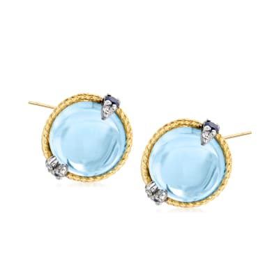 "Andrea Candela ""Dulcitos"" 9.84 ct. t.w. Swiss Blue Topaz and .20 ct. t.w. Sapphire Earrings in Sterling Silver and 18kt Yellow Gold"