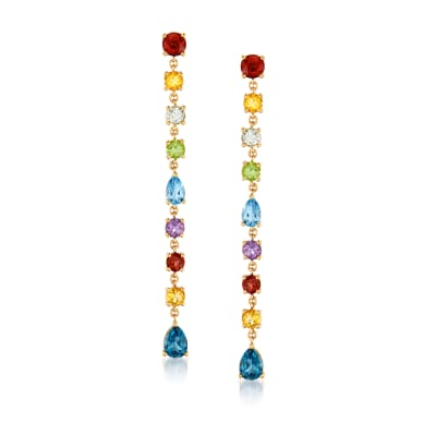 6.90 ct. t.w. Multi-Gemstone Linear Drop Earrings in 18kt Gold Over Sterling