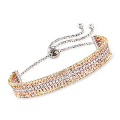 4.80 ct. t.w. CZ Bolo Bracelet in Tri-Colored Sterling Silver
