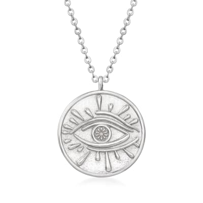 Italian Sterling Silver Evil Eye Circle Pendant Necklace